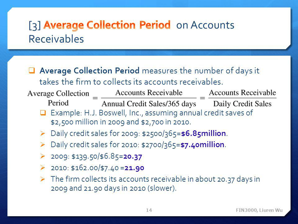 [3] Average Collection Period on Accounts Receivables